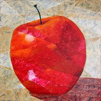 Kubismus, Apfel, Früchte, Rot