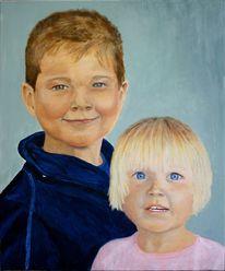 Kind, Portrait, Malerei, Acrylmalerei