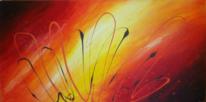 Acrylmalerei, Orange, Farbverlauf, Gelb