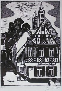 Druckgrafik, Pfalz, Linoldruck, Weltkulturerbe