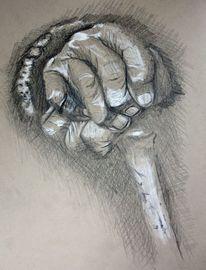 Gicht, Bleistiftzeichnung, Kreide, Tod
