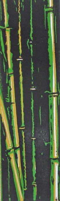 Linolschnitt, Bambus, Linoldruck, Natur