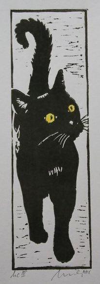 Hochdruck, Katze, Schwarz, Druckgrafik