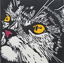 Katze, Linolschnitt, Hochdruck, Druckgrafik