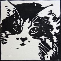 Schwarz weiß, Hochdruck, Katze, Linoldruck