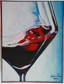 Weinglas, Rot, Malerei, Wein