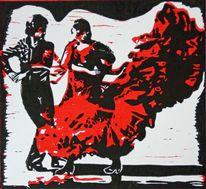 Spanien, Farblinolschnitt, Rot schwarz, Flamenco
