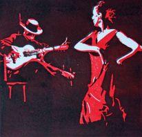 Rot schwarz, Farblinolschnitt, Flamenco, Spanien