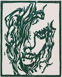 Blockprint, Linoldruck, Frau, Hochdruck