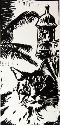 Hell dunkel kontrast, Linolcut, Katze, Schwarz weiß
