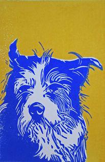 Linoldruck, Hochdruck, Blockprint, Hund