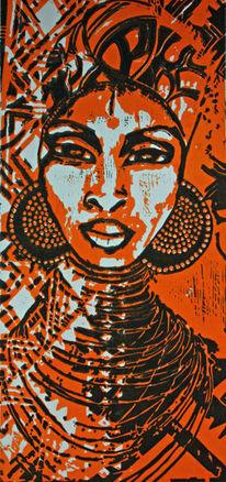 Linolschnitt, Afrika, Linolcut, Frau