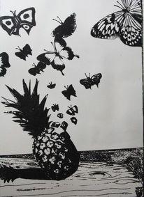 Schmetterling, Stillleben, Obst, Ananas