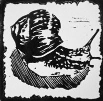 Linolschnitt, Schwarz weiß, Hochdruck, Druckgrafik