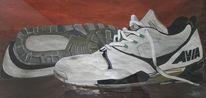 Gouachemalerei, Realismus, Schuhe, Malerei