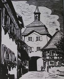 Burkheim, Kaiserstuhl, Fachwerk, Schwarz weiß