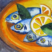 Stillleben, Fisch, Aquarellmalerei, Aquarell