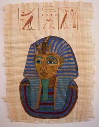 Tutanchamun, Pharao, Gouachemalerei, Papyrus