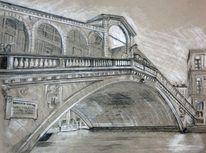 Venedig, Zeichnung, Rialtobrücke, Italien