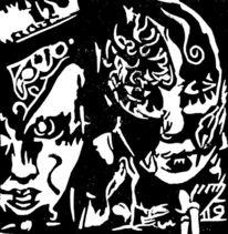 Linolschnitt, Hochdruck, Maske, Druckgrafik