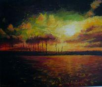 Arrangement, Gemälde, Landschaft, Malerei