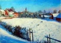 Gemälde, Landschaft, Malerei, Winterlandschaft