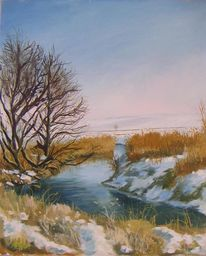 Landschaft, Gemälde, Malerei, Winterlandschaft