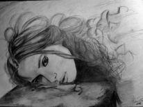 Traum, Buntstiftzeichnung, Leben, Portrait