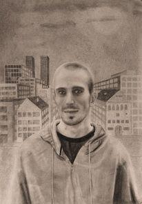 Schwarz weiß, Mann, Portrait, Bleistiftzeichnung