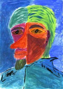 Acrylmalerei, Portrait, Abstrakt, Selbstportrait
