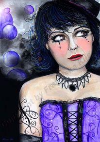 Frau, Lila, Buntstiftzeichnung, Violett