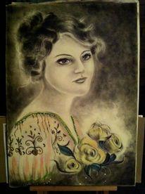 Vintage, Blumenkind, Portrait, Malerei