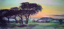 Afrikanische landschaft, Afrika, Kilimandscharo, Landschaftsmalerei