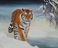 Großkatze, Tiermalerei, Tiger, Tierportrait