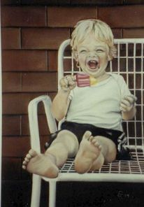 Kleine kinder, Portrait, Kreide, Porträtmalerei