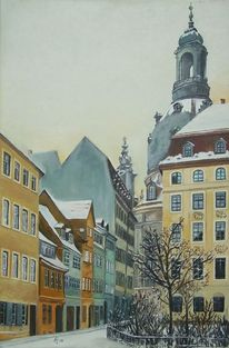 Frauenkirche, Luftangriff dresden, Dresden, Malerei