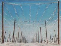 Winter, Hopfengarten, Malerei, Dezember