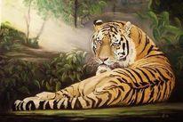 Tiermalerei, Tierwelt, Pastellmalerei, Katze