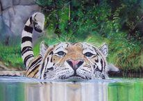 Großkatze, Pastellmalerei, Tierwelt, Tiermalerei