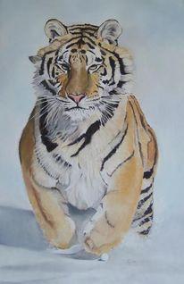 Malerei, Schnee, Tiger