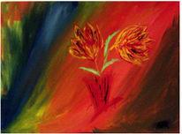 Bunt, Warme farben, Modern, Blumen