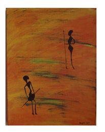 Acrylmalerei, Mann, Warme farben, Abstrakt