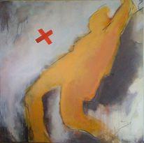Körper, Rot, Acrylmalerei, Gelb