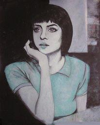 Acrylmalerei, Körper, Blauschwarz, Portrait