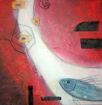 Organisch, Abstrakt, Rot schwarz, Malerei