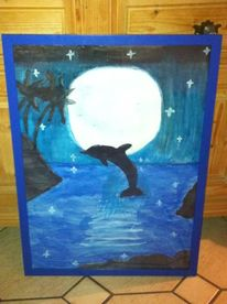 Delfin im mondschein, Malerei
