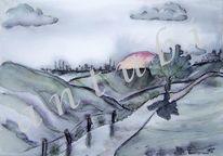Tusche, Landschaft, Laviert, Aquarellmalerei