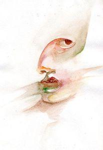Acrylmalerei, Gesicht, Liebe, Studie