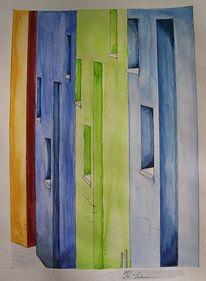 Gasse, Aquarellmalerei, Bunte häuser, Italien