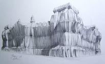 Bleistiftzeichnung, Berlin, Skizze, Reichstag